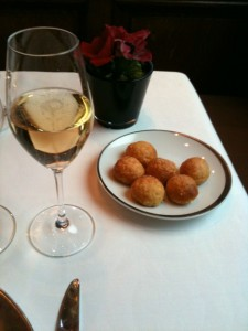 Taillevent champagne and cheese puffs