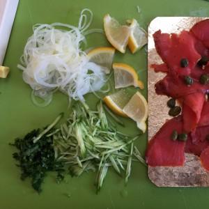onion, parsley, cucumber, smoked salmon