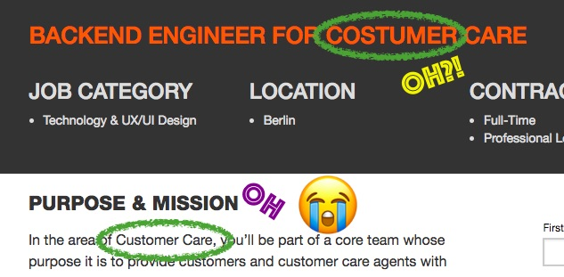 "Screen capture of a job description ""Engineer for costumer care"""